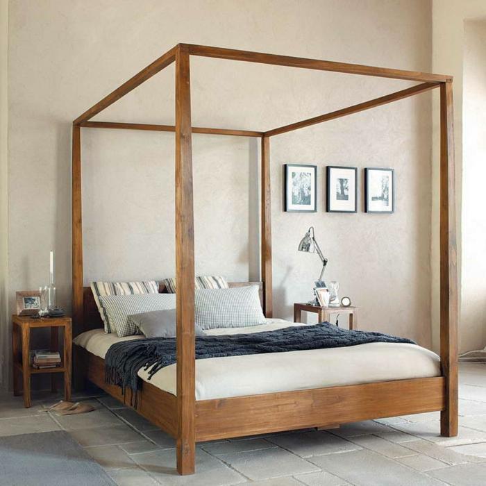 schlafzimmer ideen baldachin betthimmel bettgestell holz teakholz puristisches design