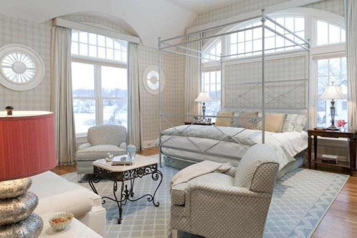 schlafzimmer ideen baldachin betthimmel metallbett modernes minimlistisches design