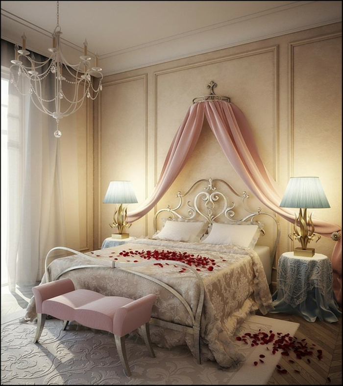 schlafzimmer ideen baldachin betthimmel rosa metallbett silber kristallkronleuchter romantisch