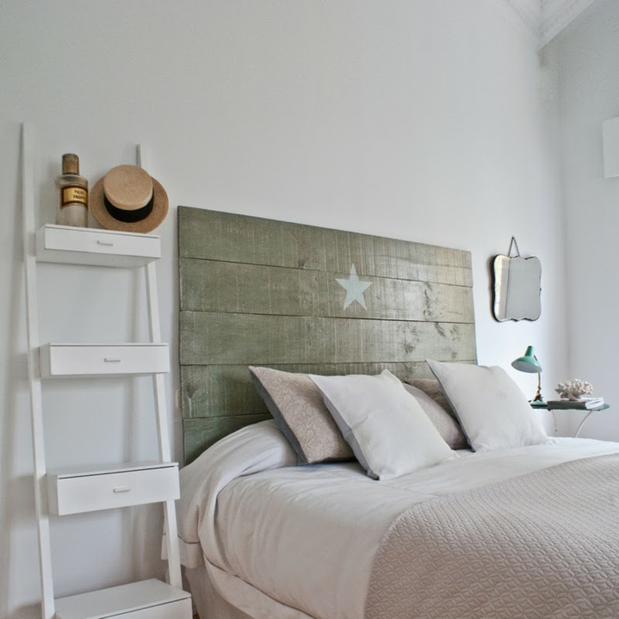 schlafzimmer ideen diy kopfteil holzbretter sperrholz stern