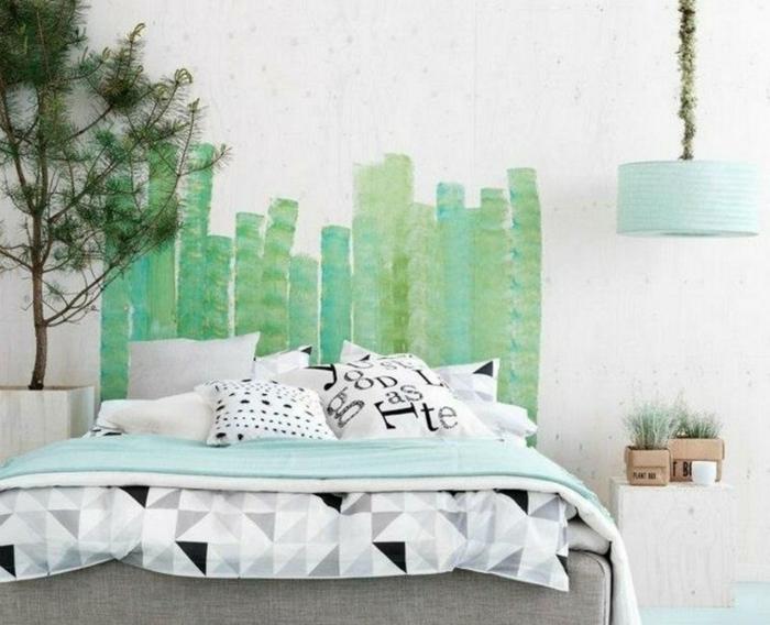 Schlafzimmer Ideen Diy Kopfteil Wanddekoration Grüne Farbe Kräuter Kiefer