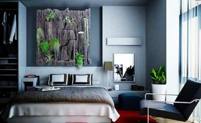 Schlafzimmer Ideen Graue Wandfarbe Vertikaler Garten Holz Zimmerpflanzen  Wandgestaltung