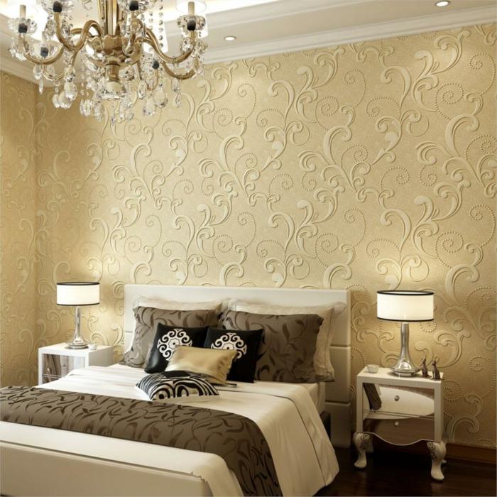 schlafzimmer ideen rankenmuster wandtapete wanddeko