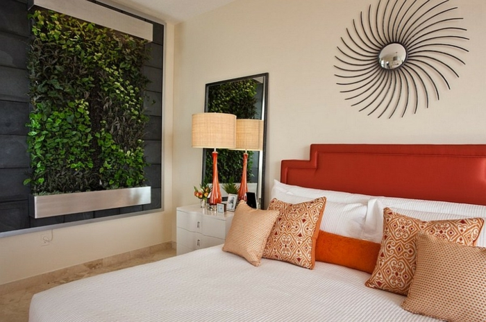 schlafzimmer ideen vertikaler garten zimmerpflanzen wanddekoration