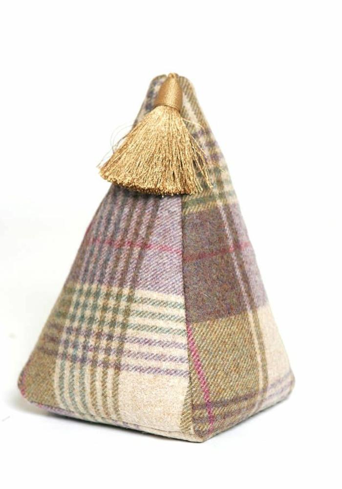 tür stopper karierte stoff pyramide pinsandribbons.co.uk
