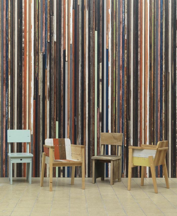trends möbel dutsch design week ausstelllung piet hein eek wandgestaltung sperrholz retro stühle