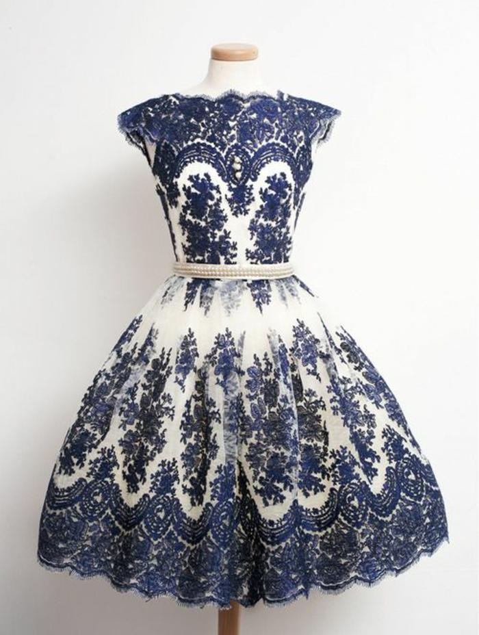 vintage kleider weiß blau kurz abschlusball vintage mode