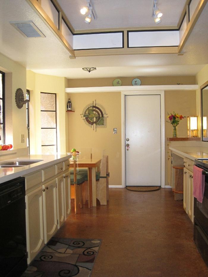 wände streichen ideen beige küche essbereich teppich