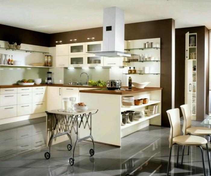 wandfarbe küche wände streichen ideen dunkle wandfarbe küchendesign ideen offene wandregale