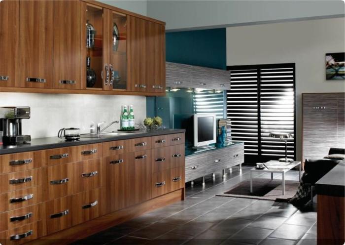 wände streichen ideen grüne akzentwand küchenschränke dunkle bodenfliesen