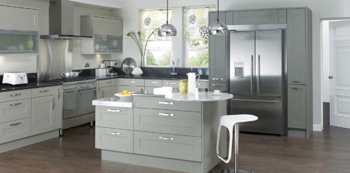 wände streichen ideen graue küche funktuionale kücheninsel ...