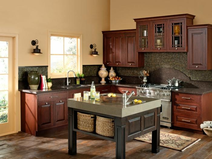 wände streichen ideen küche creme wandfarbe küchentisch teppichläufer