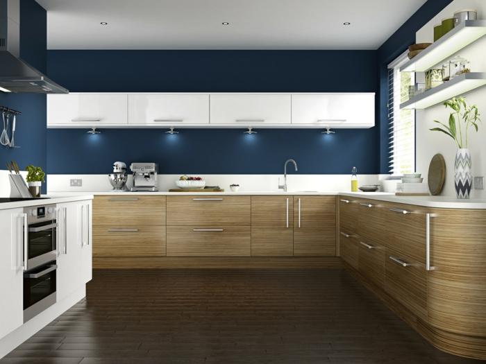 wandfarbe küche wände streichen ideen küche einrichten blaue wandfarbe schöne küchenschränke holztextur
