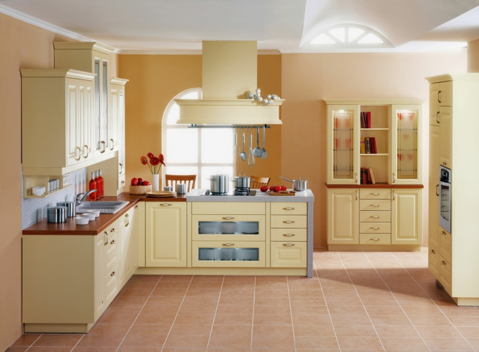 wände streichen ideen küche frisch dezent bodenfliesen blumen