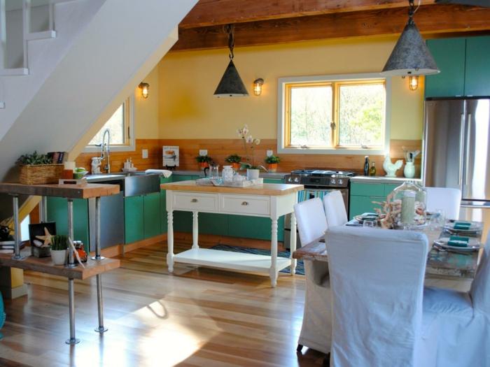 wände streichen ideen küche gelbe wände grüne küchenschränke