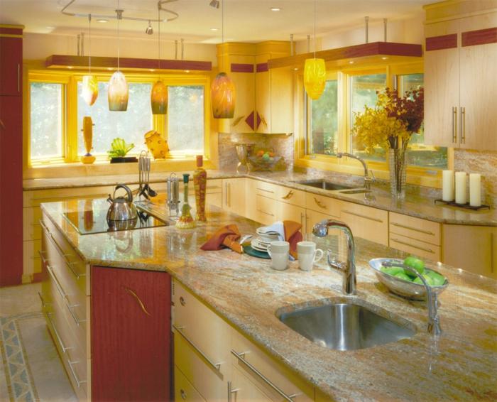Wandfarbe Küche Wände Streichen Ideen Küche Gelbe Wände Pendelleuchten  Küchenbeleuchtung