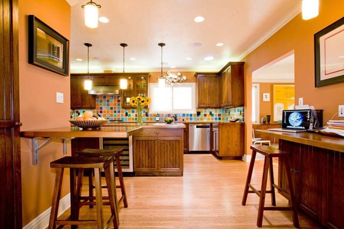 wände streichen ideen küche orange wandfarbe farbige küchenrückwand