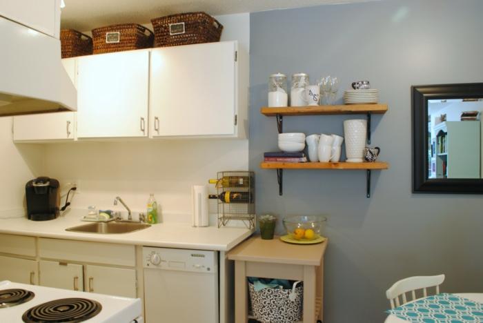 wände streichen ideen kleine küche gestalten hellgraue wandfarbe