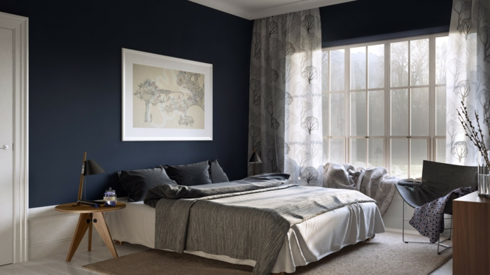 Grosartig Dunkelblaue Wandfarbe ~ Schlafzimmer wände streichen ideen tesoley