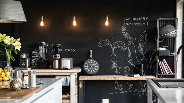 wände streichen ideen wandtafel küche dunkle wandfarbe