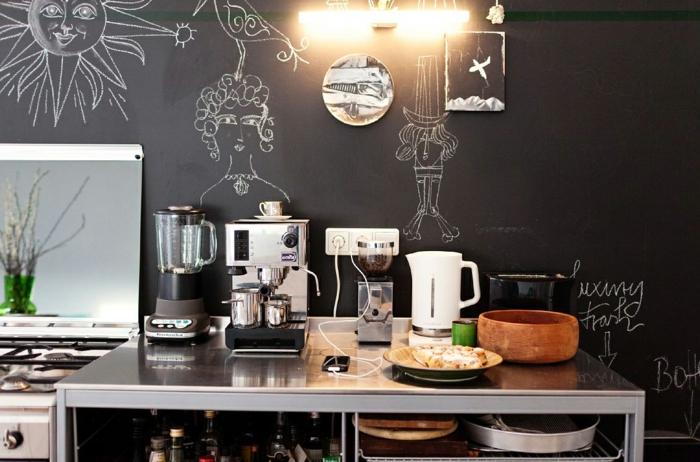 wände streichen ideen wandtafel küche küchentisch kücheneinrichtungen