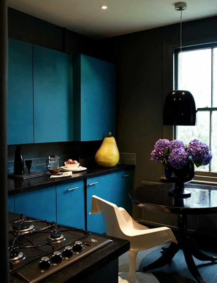 wände streichen ideen wohnideen küche blaue küchenschränke