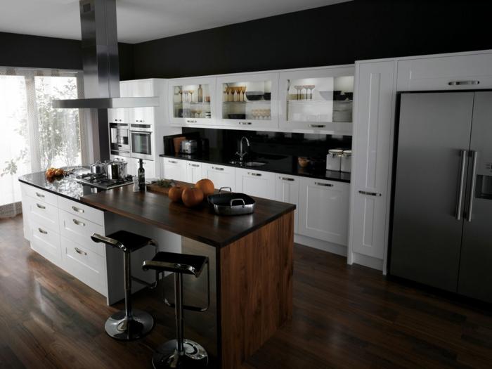 wände streichen ideen wohnideen küche schwarze wandfarbe weiße küchenschränke