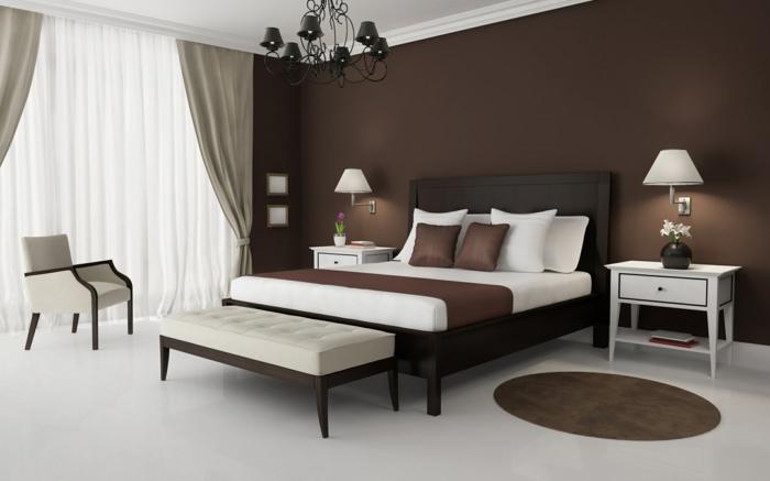 wände streichen ideen wohnideen schlafzimmer braune wandfarbe weißer boden