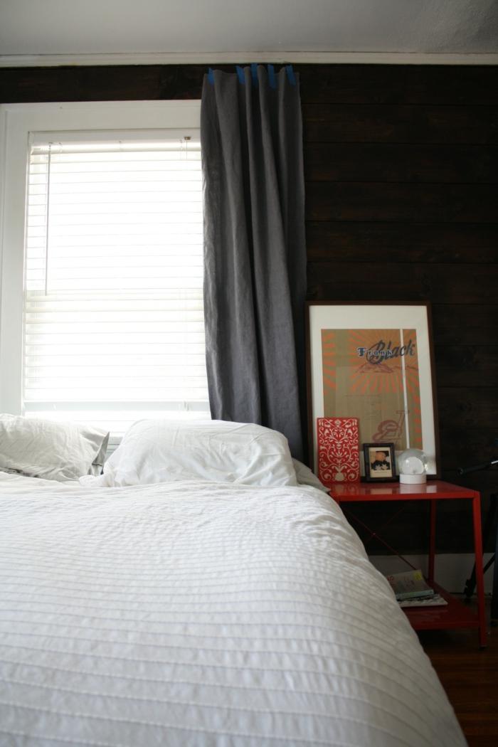 wände streichen ideen wohnideen schlafzimmer dunkle wandfarbe weiße bettwäsche