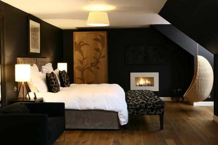 wände streichen ideen wohnideen schlafzimmer hängesessel kamin