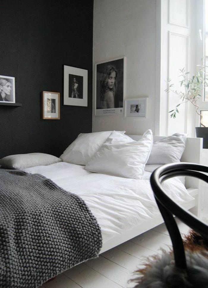 wände streichen ideen wohnideen schlafzimmer schwarze akzentwand