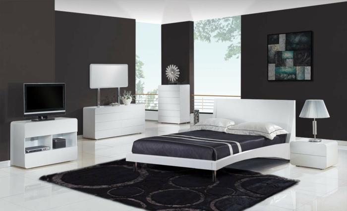 wände streichen ideen wohnideen schlafzimmer weiße möbel dunkler teppich