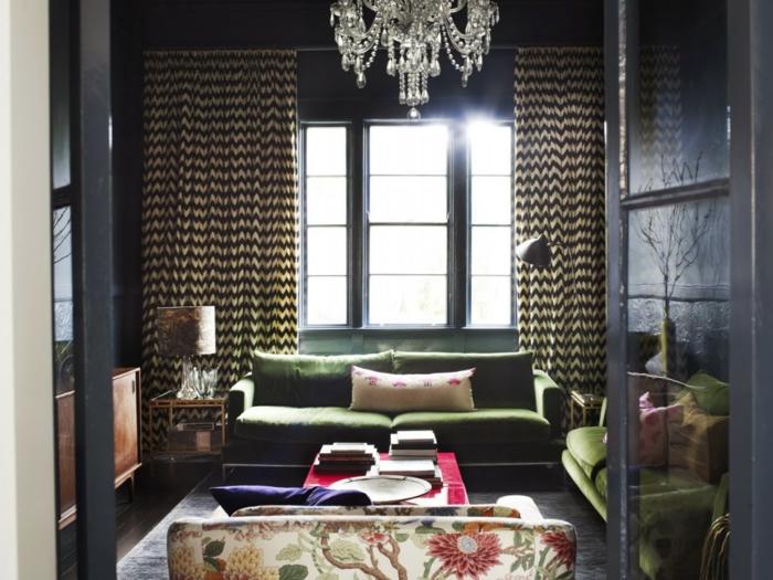 wände streichen ideen wohnzimmer gestalten gardinen grüne möbel blumenmuster
