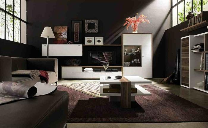 wände streichen ideen wohnzimmer wohnwand teppich