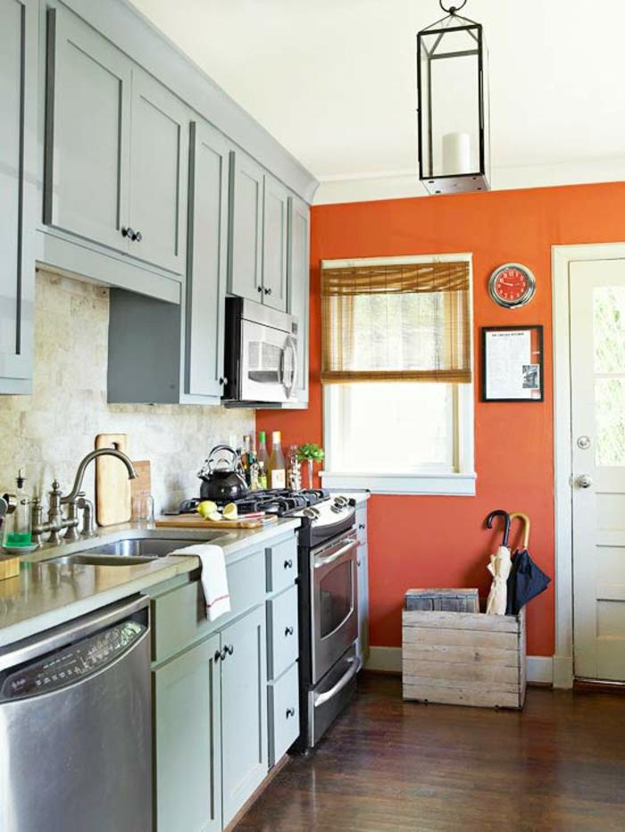 wände streichen ideen küche orange akzentwand kleine küche einrichten