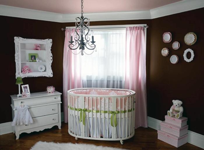 wanddesign wandgestaltung wandfarbe farbgestaltung babyzimmer braun ...