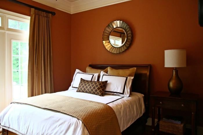 wandgestaltung wandfarbe farbgestaltung schlafzimmer ocher creme - Schlafzimmer Gestalten Mit Creme
