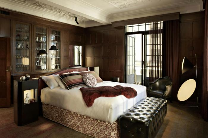 wandgestaltung wandfarbe farbgestaltung schlafzimmer ochra braun - Schlafzimmer Gestalten Brauntne
