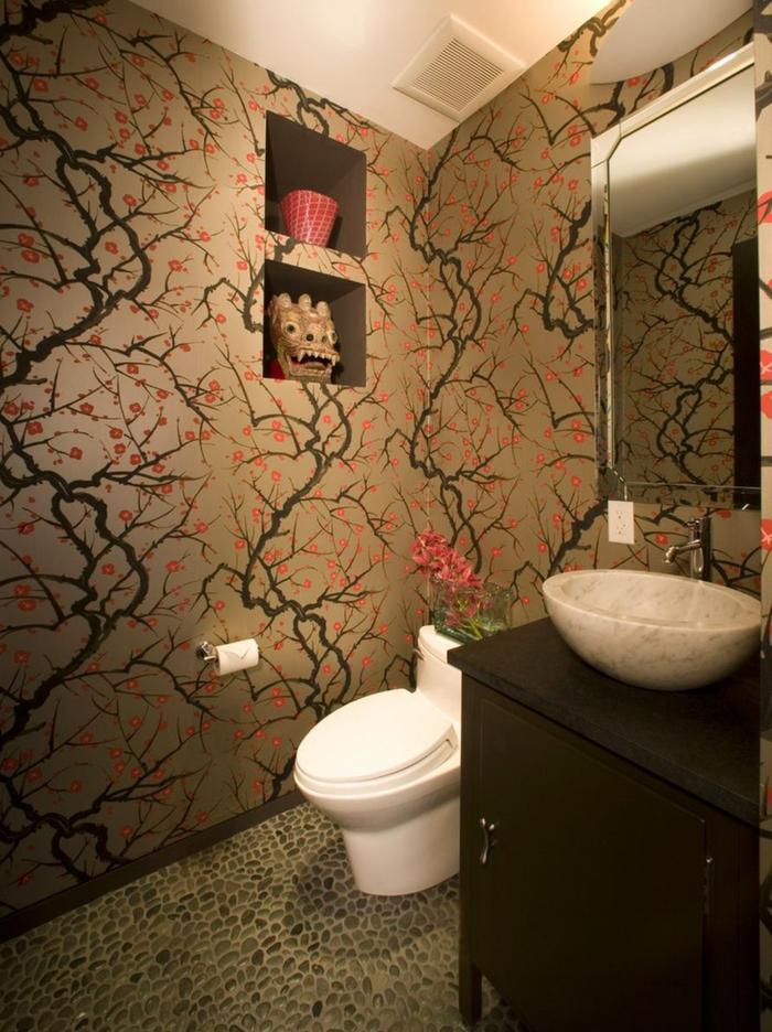 wandgestaltung wandfarbe farbgestaltung toilette braun kirschbaum
