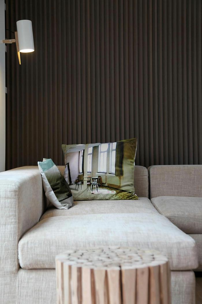wanddesign wandgestaltung wandfarbe farbgestaltung wohnzimmer braun gestreift