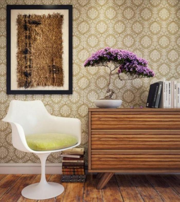 Wanddesign Wandgestaltung Wandfarbe Farbgestaltung Wohnzimmer Braun Mix