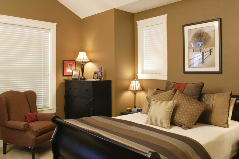 wandfarbe ideen schlafzimmer trendfarbe braun brauntöne kaffee