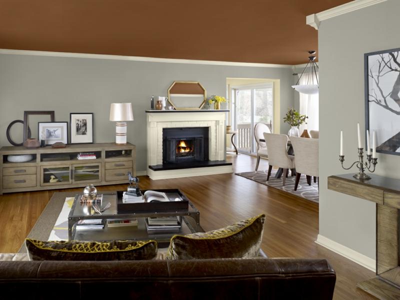 Wandfarbe Ideen Wohnzimmer Trendfarbe Braun Deckenfarbe