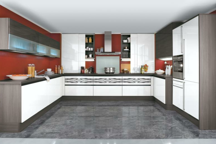 wandfarbe küche farbige wände bodenfliesen küchenschränke
