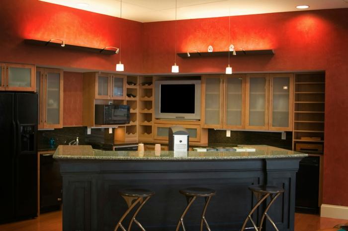 wandfarbe küche frabige küchenwände gestalten kücheninsel barhocker