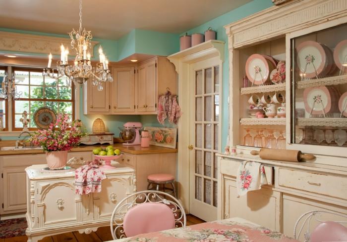 wandfarbe küche grün shabby chic stil rosa akzente toller leuchter