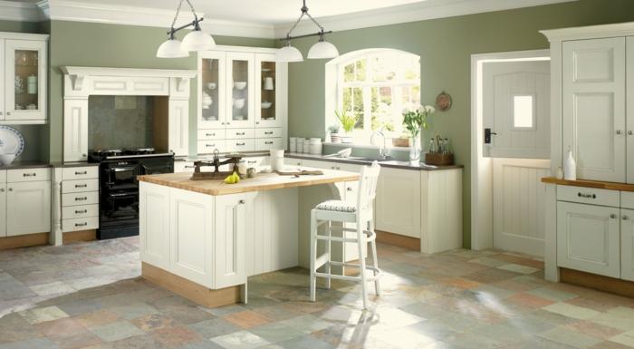 wände streichen ideen küche grüne küchenwände bodenfliesen küche