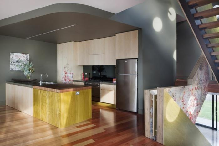 wandfarbe küche graue wandgestaltung kücheninsel spiegeloberflächen