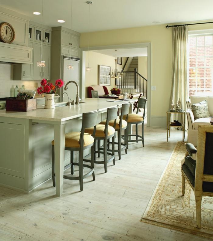 wände streichen ideen küche helle wände holzboden barhocker offener wohnplan