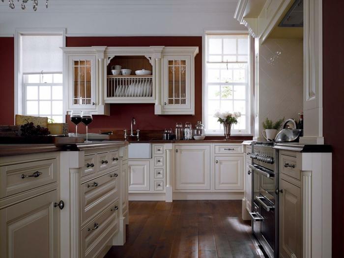 wandfarbe küche leuchter weiße küchenschränke fenster